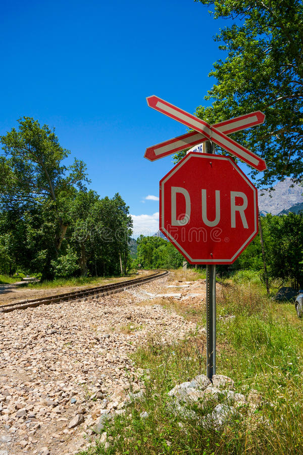 Stop sign, Train gate stock images