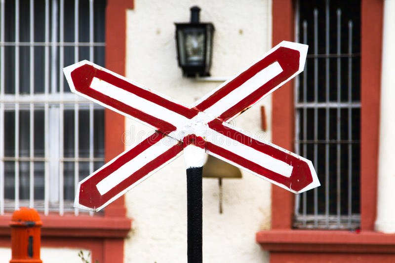 Stop Sign on Train Station. Front view of stop sign on train station stock image
