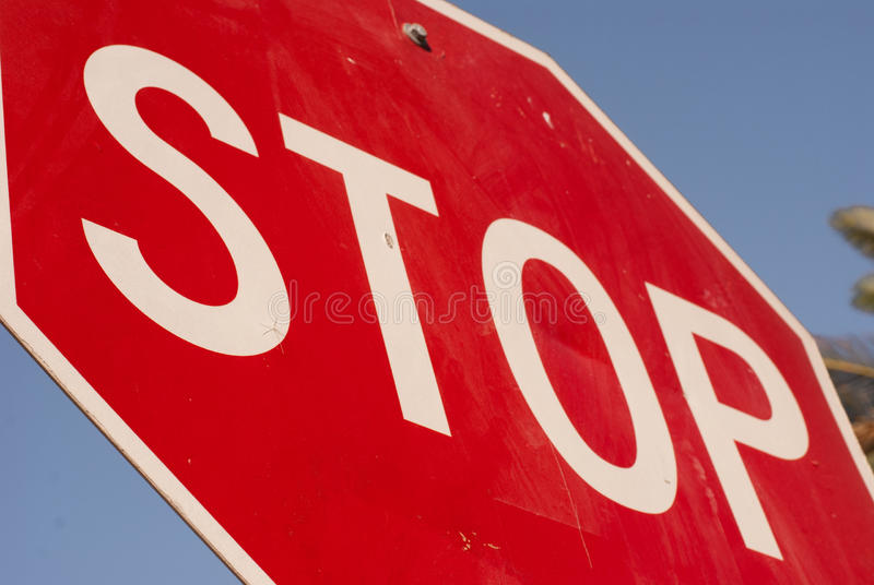 Stop Sign from unique perspective. stock images