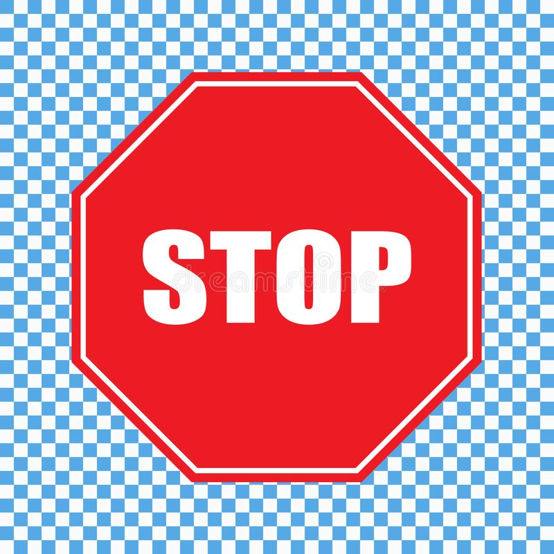 Stop sign vector. Vector illustration on transparent background royalty free illustration