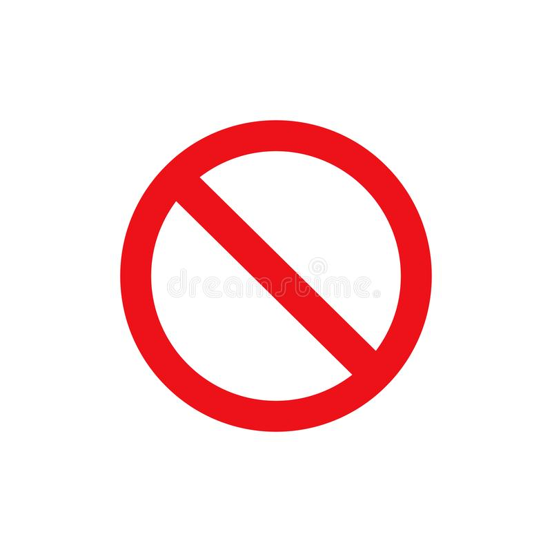Free Stop Sign Vector Red Icon. Vector Warning Or No Entry Forbidden Circle And Line Symbol Isolated Royalty Free Stock Images - 144601159