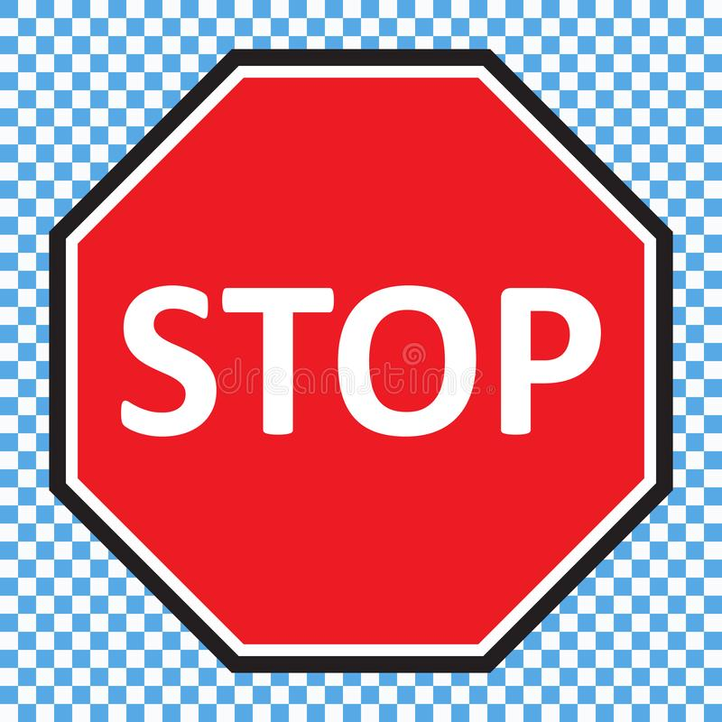 Stop sign vector. Red stop sign vector illustration stock illustration
