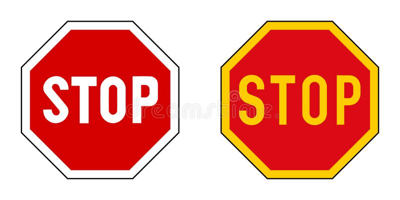 Stop sign. Version with slightly different fonts, yellow variant. Used in some parts of world stock illustration