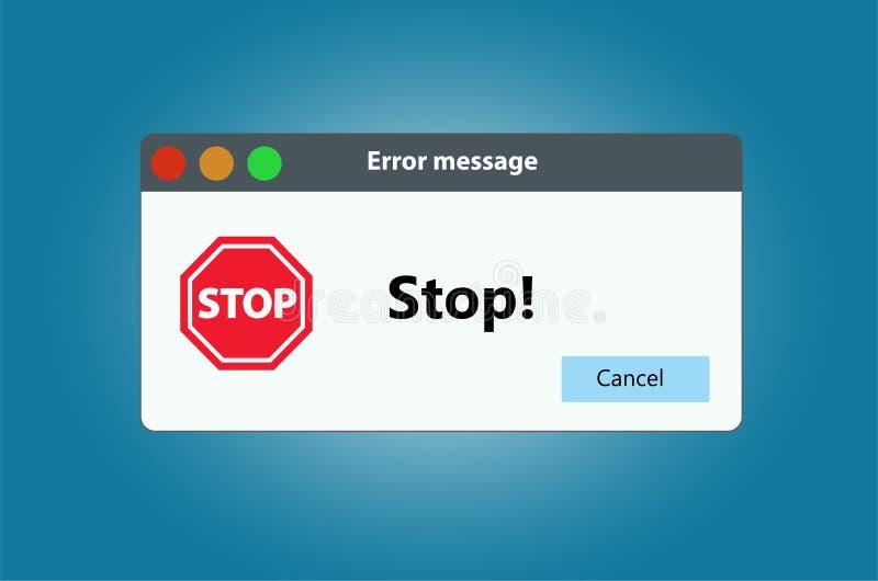Stop sign warning window pop up. Isolated on white background. stock illustration