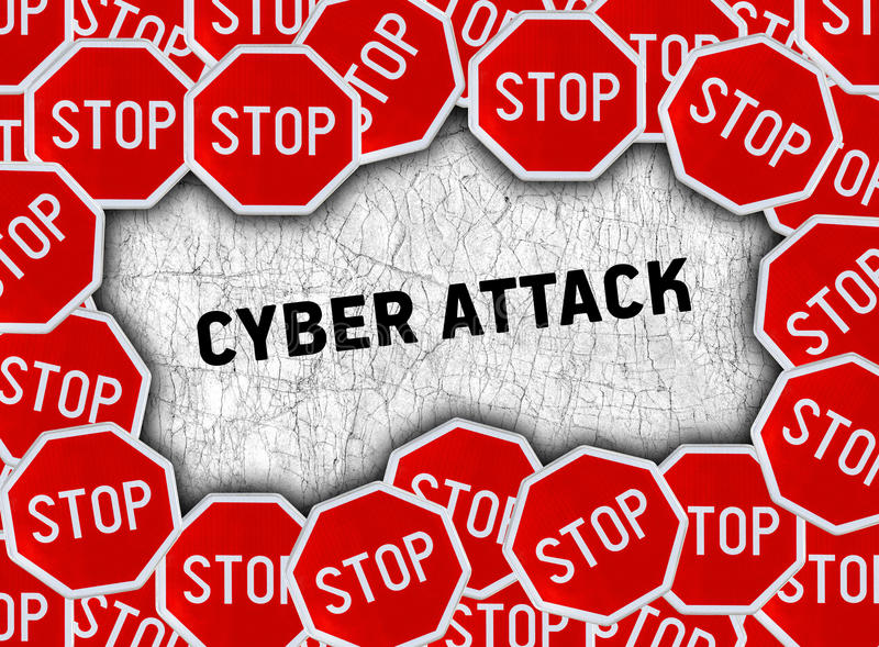 Stop sign and word cyber attack stock illustration