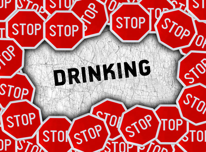 Stop sign and word drinking vector illustration