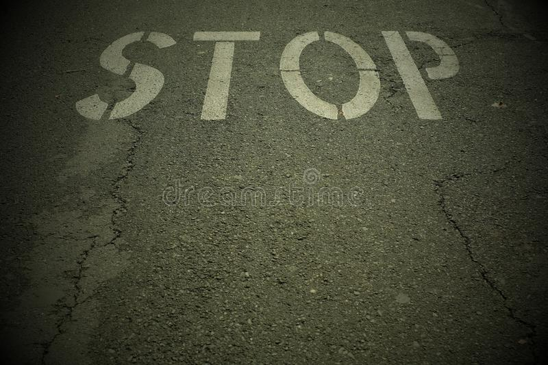Stop signage. Horizontal stop signage on a highway royalty free stock images