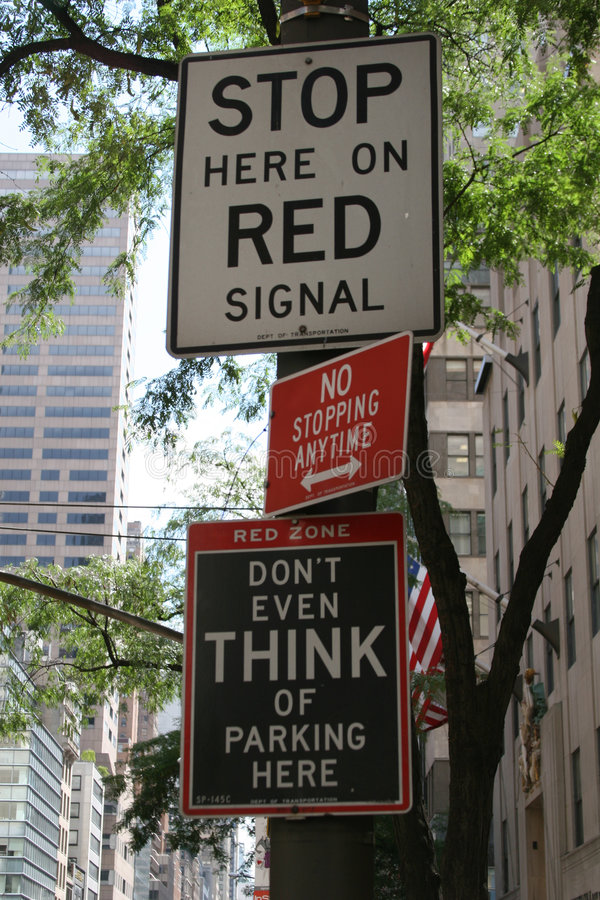 Stop Signal. Stop and Don´t Park Signals at NYC stock photo