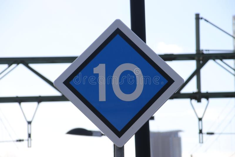 Stop signal at a platform of a trainstation in the netherlands determing in the number of wagons. stock photography