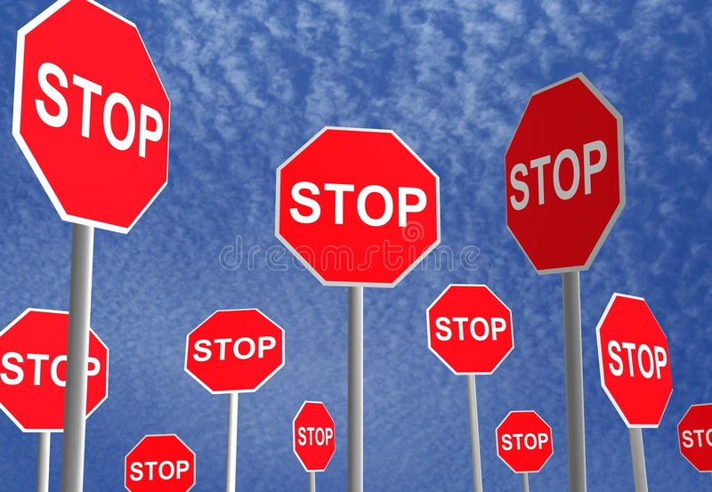 Stop Signs. 3D rendered stop signs over a sky background royalty free stock photo