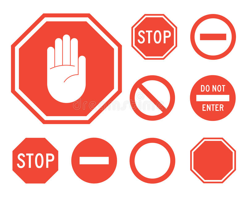 Stop signs collection in red and white royalty free illustration
