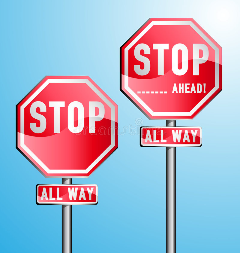 Stop Signs Set Stock Images
