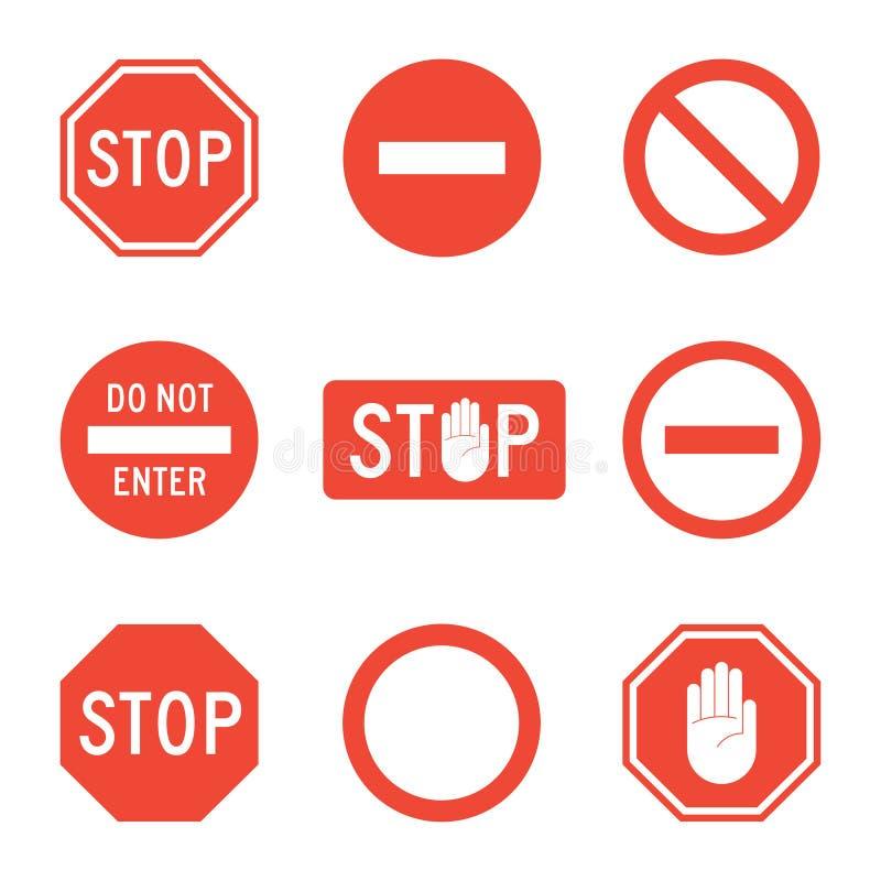 Stop signs set stock illustration