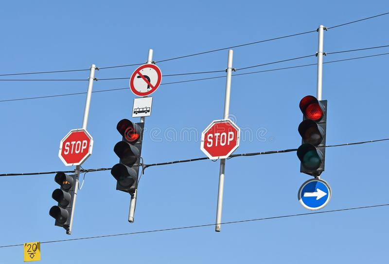 Stop signs and traffic lights royalty free stock images