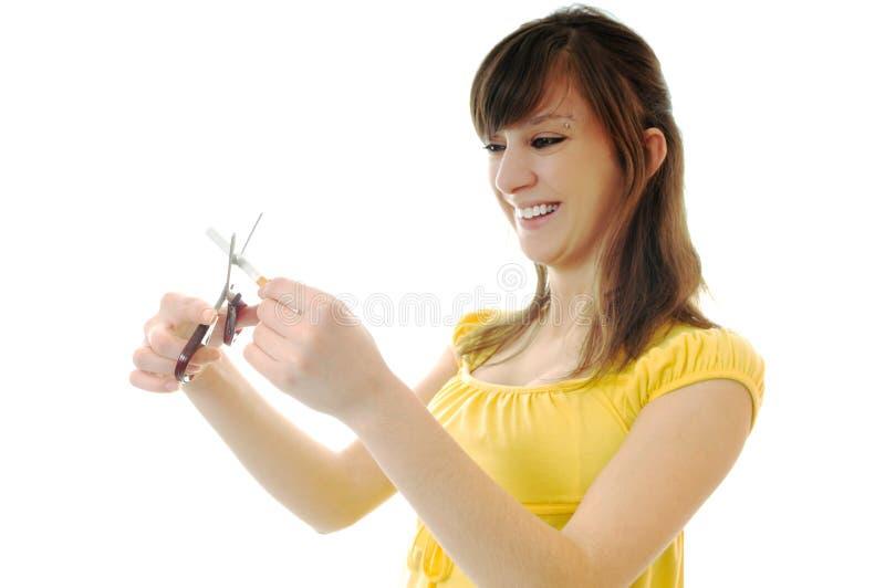 Stop smoking. Woman isolated on white stop smoking cigarette stock photos