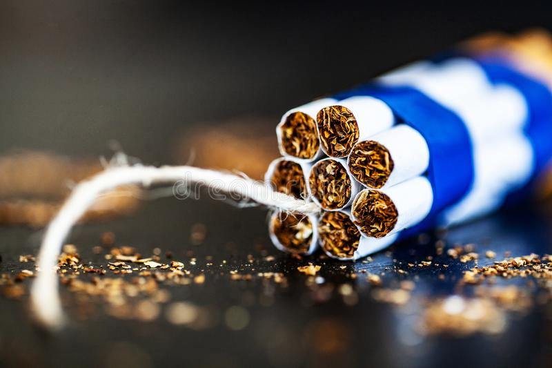 Stop smoking concept on background with broken cigarettes. Heap royalty free stock images