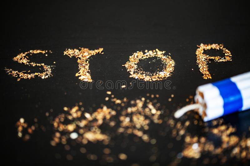 Stop smoking concept on background with broken cigarettes. Heap royalty free stock image