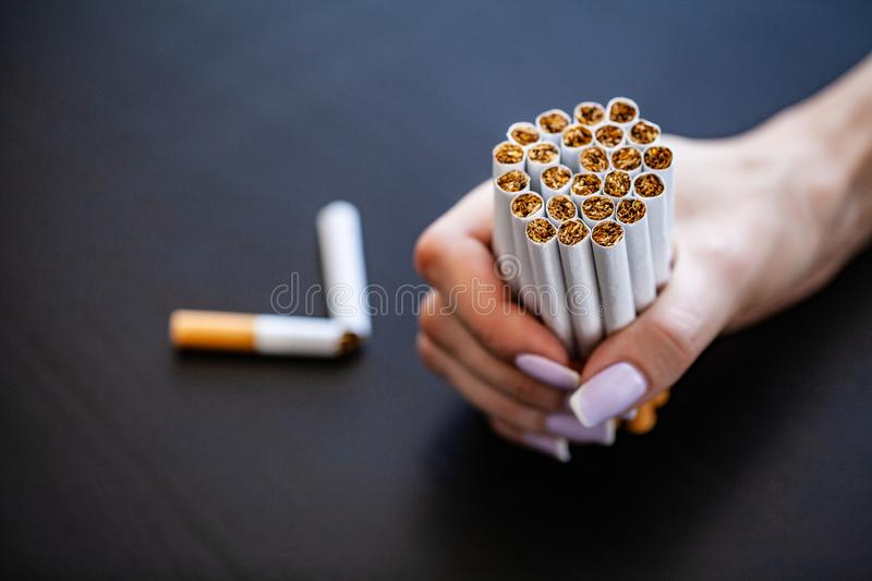 Stop smoking concept on background with broken cigarettes. Heap stock photography