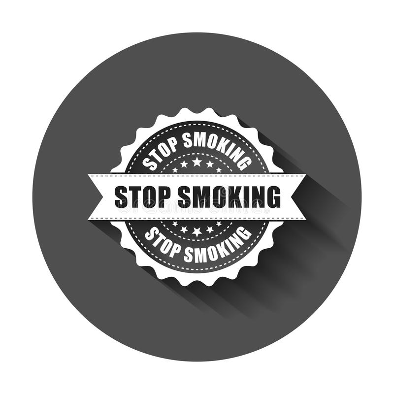 Stop smoking grunge rubber stamp. Vector illustration with long royalty free illustration