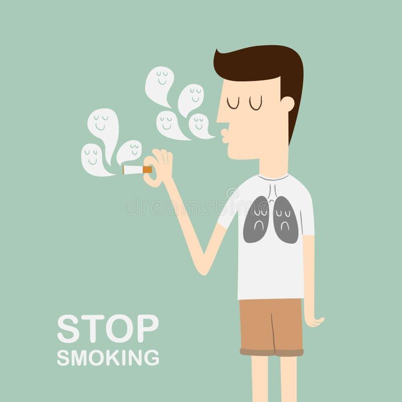 Stop Smoking. Smoking kills concept ,Male smoking with view of rotting lungs from smoking abuse stock illustration