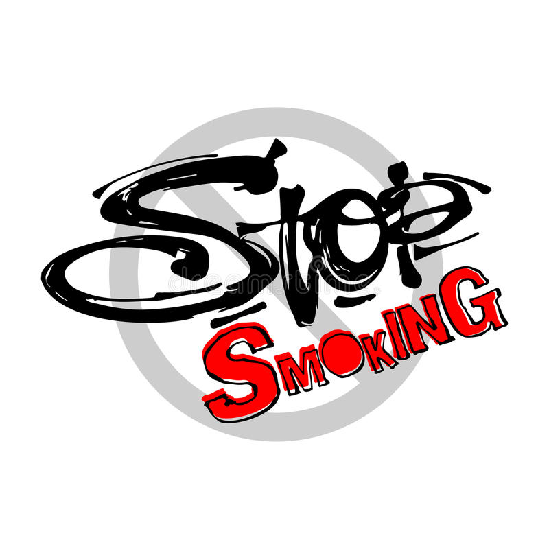 Stop smoking motivation inscription health service conсept. Ink artistic modern brush calligraphy print. Handdrawn trendy design for a logo, cards stock illustration