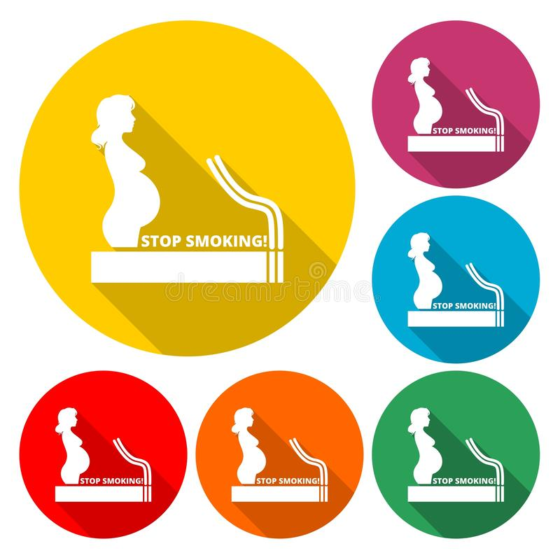 Stop smoking, poster pregnant woman silhouette icon royalty free illustration