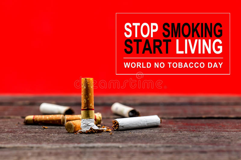 Stop smoking. And World No Tobacco Day stock photos