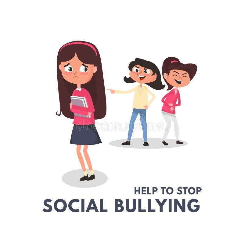 Stop social bullying concepts with bad girls bullying another girl. Kids bullying at school concept. Bullying teenagers cartoon royalty free illustration