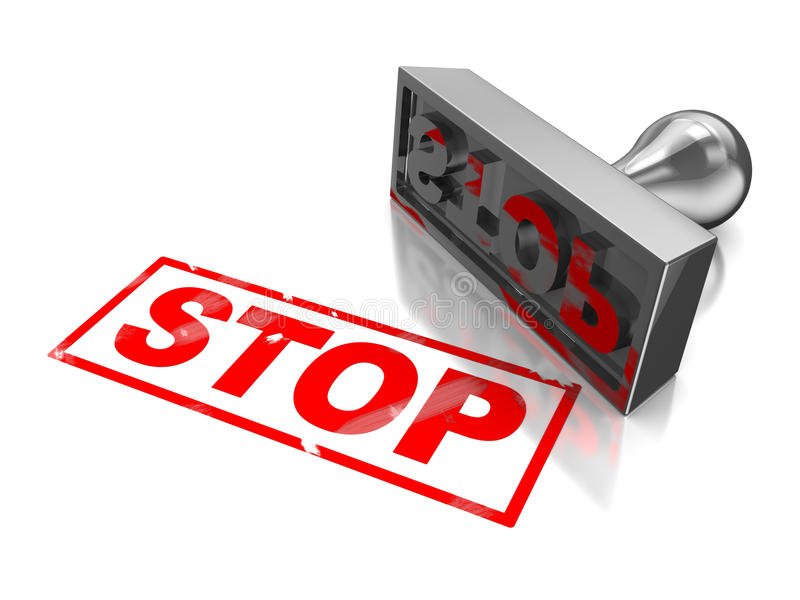 Stop stamp. With red text on a white background royalty free illustration