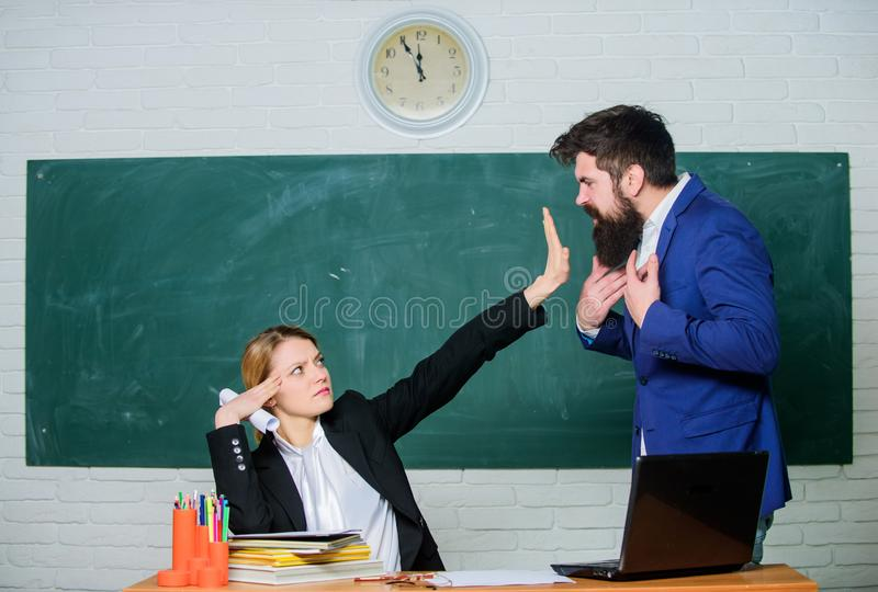 Stop talking to me. Criticism and objection concept. Teacher wants man to shut up. Please shut up. Tired of complaints. Stop talking to me. Criticism and royalty free stock photos