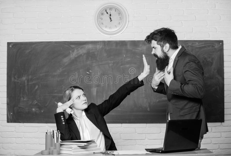 Stop talking to me. Criticism and objection concept. Teacher wants man to shut up. Please shut up. Tired of complaints. Stop talking to me. Criticism and royalty free stock photography