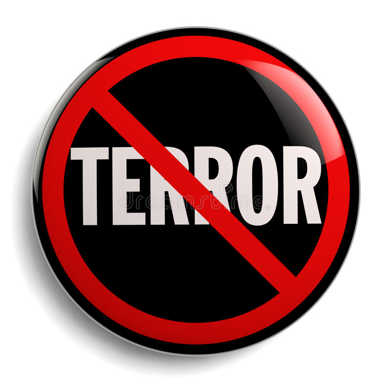 Stop Terror Sign. Anti terrorism campaign badge isolated on white royalty free illustration