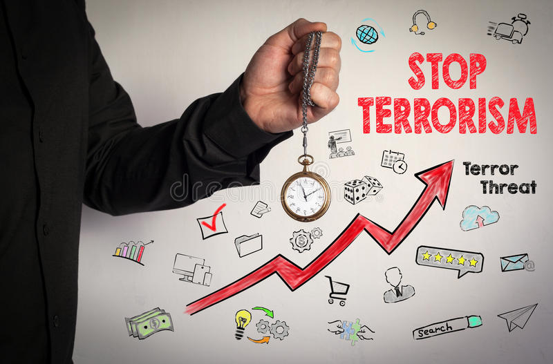 Stop terrorism concept. Red Arrow and Icons Around. Man holding chain clock on white background stock photography