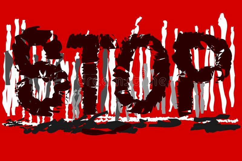 `STOP` text on red-white -grey background. For web banners, print on somethingn stock illustration