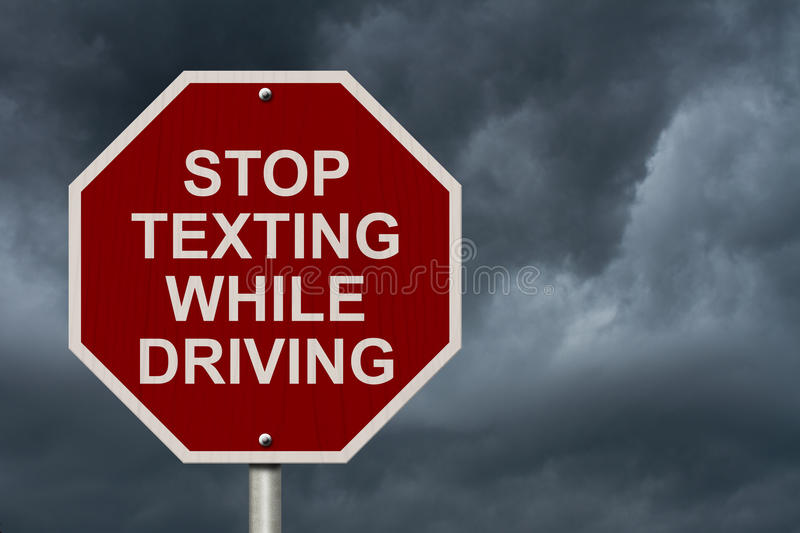 Stop Texting While Driving Sign royalty free stock image
