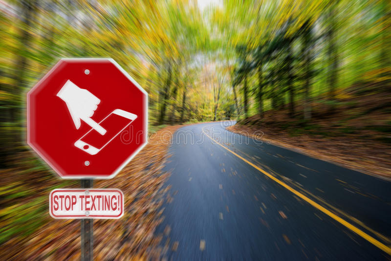 Stop Texting Icon Sign - Fall Country Road royalty free stock photos