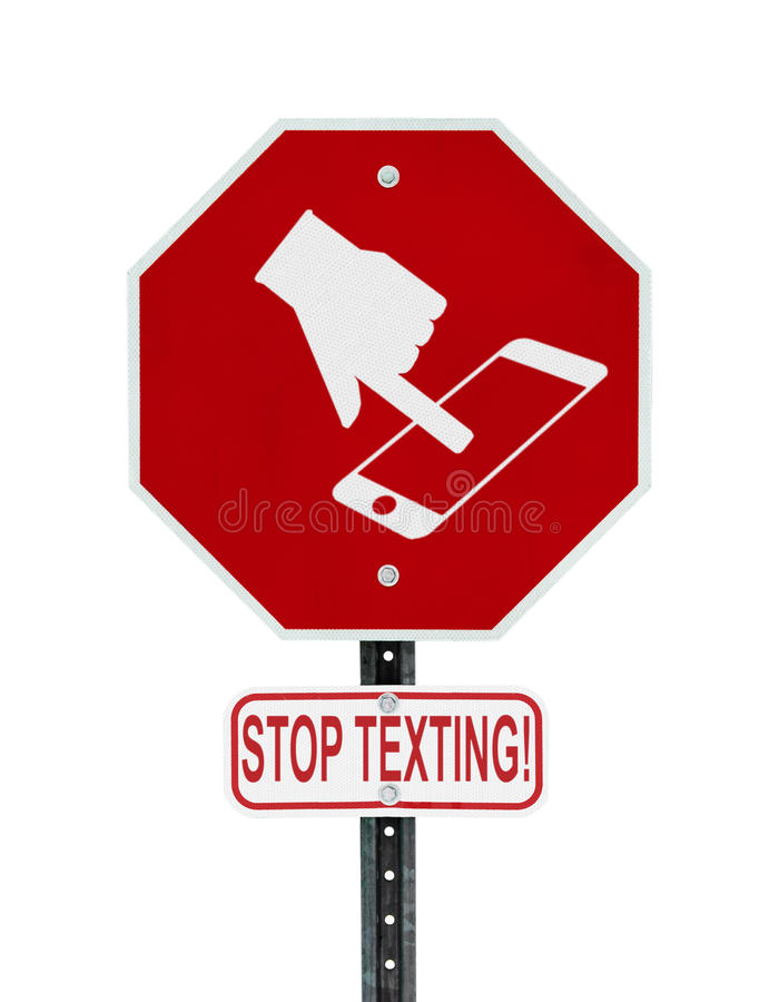 Stop Texting Icon Sign - isolated stock images
