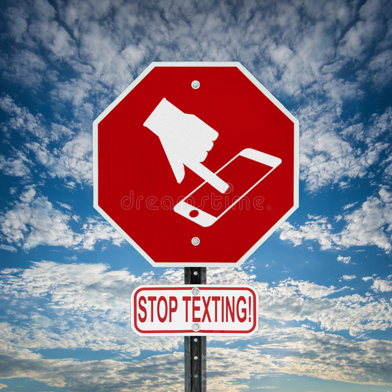Stop Texting Sign - square stock photo
