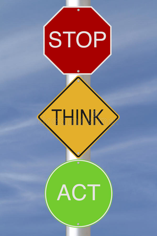 Stop Think Act stock illustration