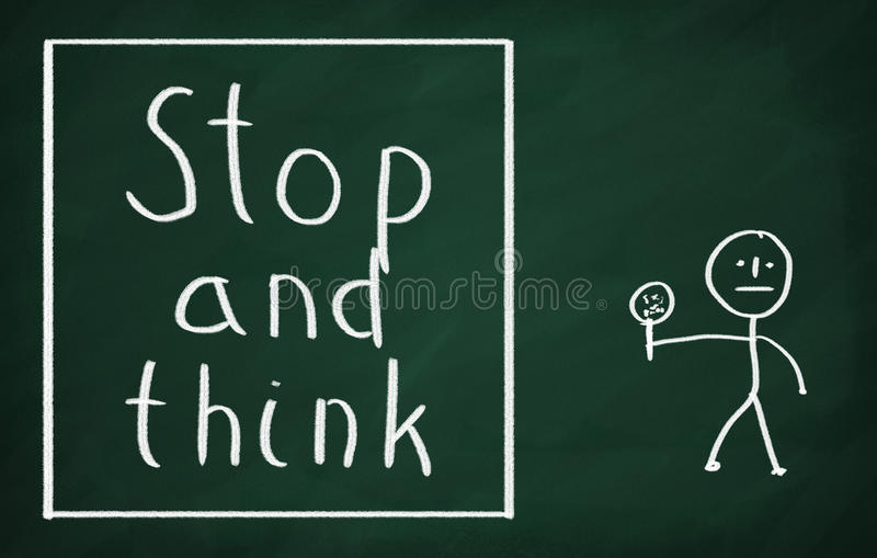 Stop and think stock image