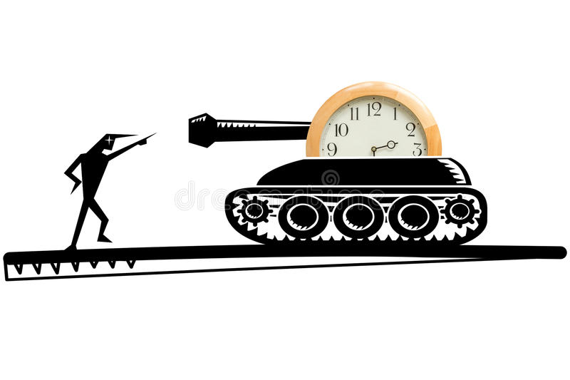 Tank with clock. Illustration of tank with clock and devilish character pointing at the gun barrel of a tank, concept of time to stop or war, white background stock photography