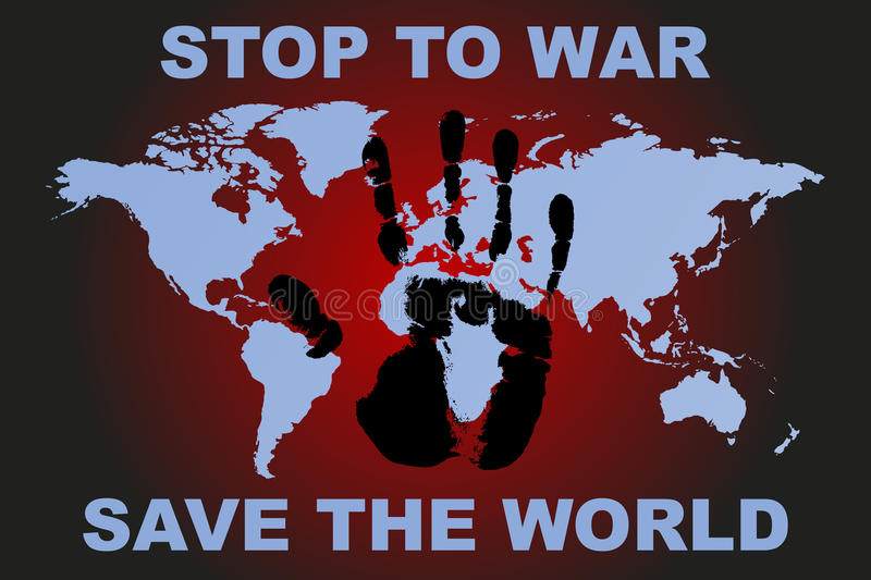 Stop to war poster with human hand print and world map vector stock download stop to war poster with human hand print and world map vector stock vector gumiabroncs Choice Image