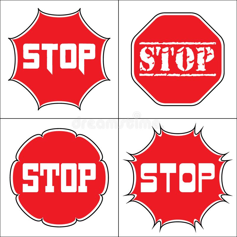 Set a stop sign. STOP. Traffic stop sign on pure white. Set of red octagonal stop signs for prohibited activities. Set a stop sign in the octagon of different vector illustration