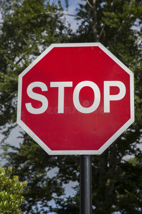 Stop Traffic Sign. Red and White Stop Traffic Sign royalty free stock image