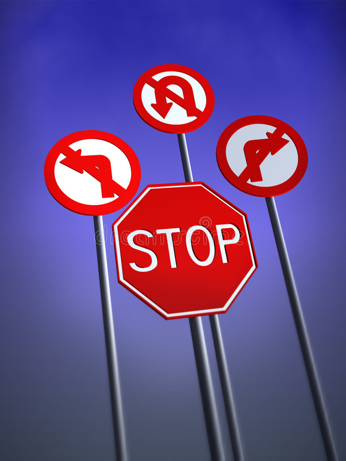 Stop Traffic Signs. Traffic Signs that show stop or nowhere to go stock illustration