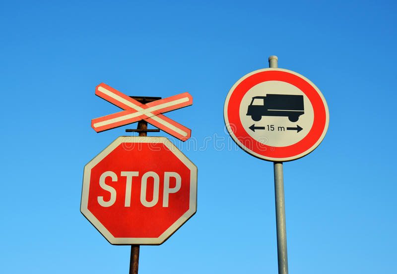 Stop, Train, Truck - transport road signs royalty free stock photos