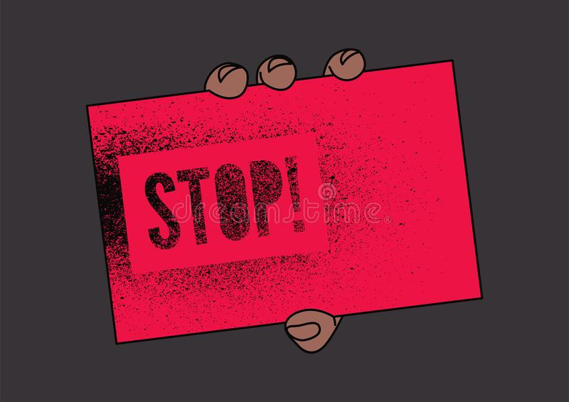 Stop! Typographic retro grunge splash stencil protest poster. Hand holding a tablet with an inscription. Vector illustration. vector illustration