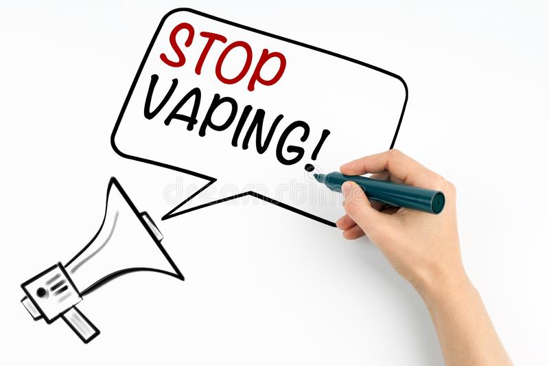 Stop Vaping. Smoking electronic cigarettes and health risk concept stock image