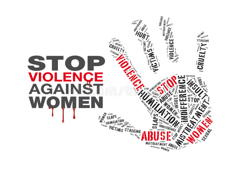 Stop violence against women. A cloud word with text `stop violence against women stock illustration