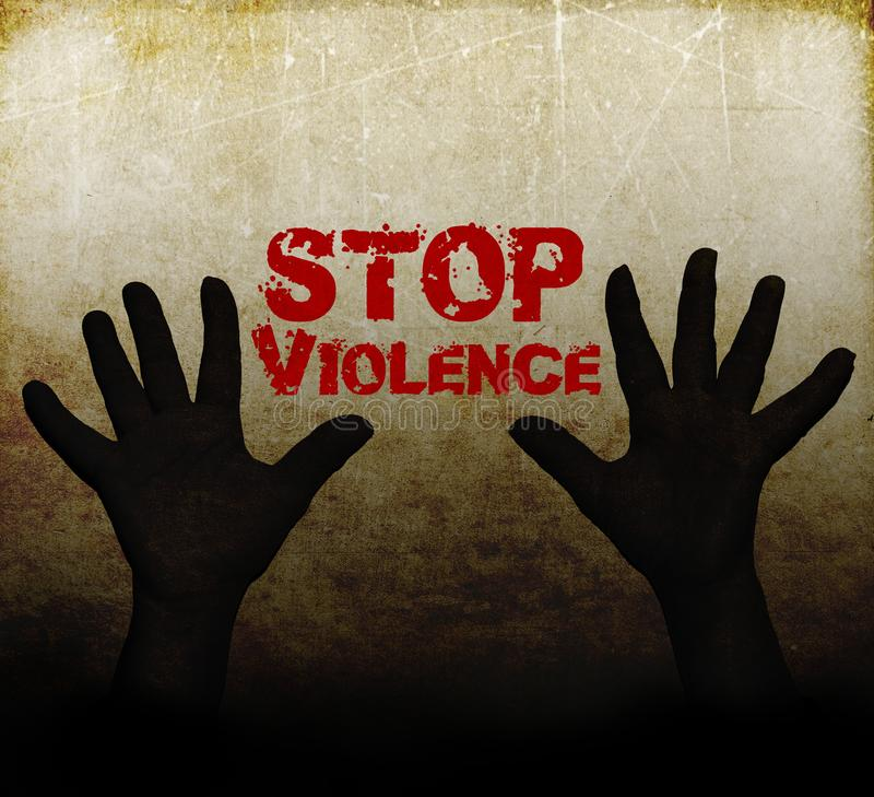 Stop violence against women. With hands stock illustration